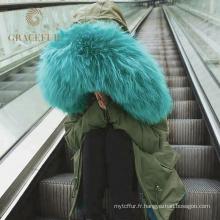 Wholesale femme hiver fourrure véritable parka veste avec fourrure capuche fourrure doublure parka