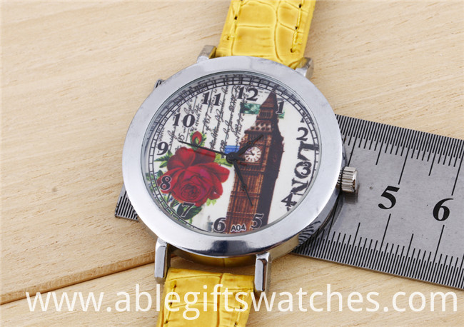40mm dial leather watch