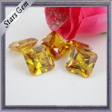 Quadrado Octagon Brilhante Amarelo Princesa Cut CZ Gemstone