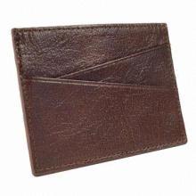 Genuine Card Wallet, Brown/Black Colors, with 1 Cash Slot/4Credit Card Holder