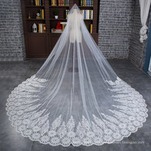 Wholesale Wedding Bridal Long Veil with Wide Applique Lace
