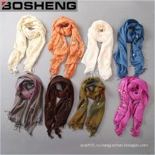 Женщины длинной чистой ленты яркие перлы шарф с Fringed