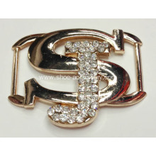 Letters Alloy Clothes Buckle with Rhinestone, Shoe Ornaments