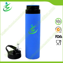 600ml botella de agua del colapsible de Foldbale del silicón, botella suave del silicón
