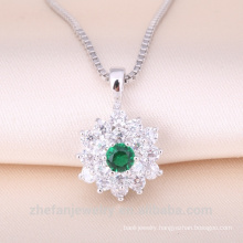 free samples jewelry Mom Gift ruby green rhodium Plated Cubic Zircon Band sterling silver pendant