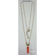 Gold-Plated Necklace Metal with Red Stone Pendant