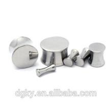 Silver double flare ear plugs high polish