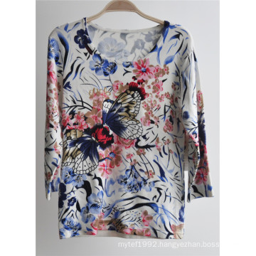 Ladies Round Neck Pullover Printed Knit Sweater