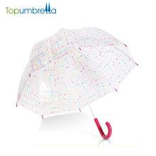 Atacado barato pvc personalizado impressão chuva em linha reta moda transparente guarda-chuva claro para o casamento