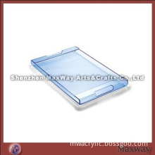 Hot Sale Bending Rectangle Blue Handy Acrylic Serving Tray