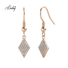 Hypoallergenic Minimalist Diamond Shape 18K Gold Plated Rhombus Hook Earrings