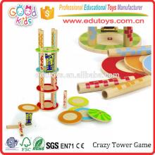 Crazy Tower Unique Kids brinquedos de empilhamento, brinquedos de bambu renováveis para crianças empilháveis