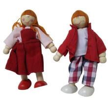 Happy Family Series Pretend Spielhaus Hölzerne Kleine Jungen und Mädchen Puppen Spielzeug