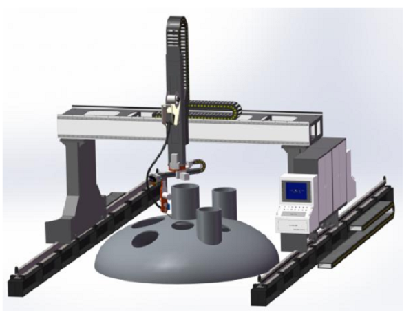 Gantry Welding Robot of Intersecting Lines on Cylindrical Shell and Head