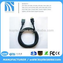 Nuevo negro superior 1.4V chapado en oro Cable HDMI con macho de nylon a macho para 1080p PS3 HDTV