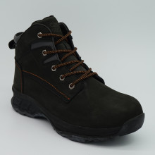 Black Genuine Leather Men Safety Shoes with Steel Toe