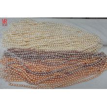 5-6mm AA-Grad-Reis-Form-ursprüngliche Perlen-Stränge