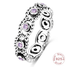 Purple Gem Stone Amethyst Inlay Sterling Silver Ring (SRI0027-B)