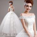 weißes Spitze-Ballkleid-Hochzeitskleid Großverkauf weg vom Schulter-Schatz-preiswerten Hochzeits-Kleid
