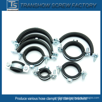 EPDM Rubber Bonded Galvanized Steel Pipe Clamps