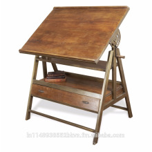 Wood Iron Desk Table Draughtsman's Industrial
