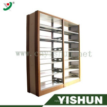 Double column mdf school Library bookshelves furniture for public libraries solid wooden bookshelf school