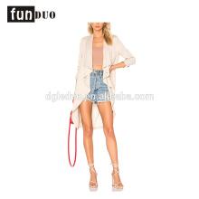 Mode nouvelles femmes long manteau de poussière élégant blanc longue veste mode nouvelles femmes long manteau de poussière élégant blanc longue veste