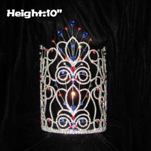10 pulgadas de altura grandes coronas de cristal de desfile alto