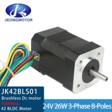 4000rpm 26W 42mm Square Brushless DC Motor with 8 Wires 42bls01