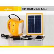 Sistema de iluminação solar portátil Oda-202 LED com bateria de chumbo-ácido 6V / 4ah