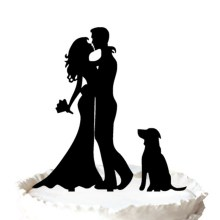 Bride and Groom Silhouette Wedding Cake Topper with Dog Pet