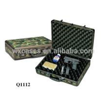 caja de arma escopeta de aluminio con espuma interior cubierto con tela de camuflaje de fábrica de China
