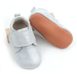 Silver Baby Casual Leather Shoes Children Wholesale