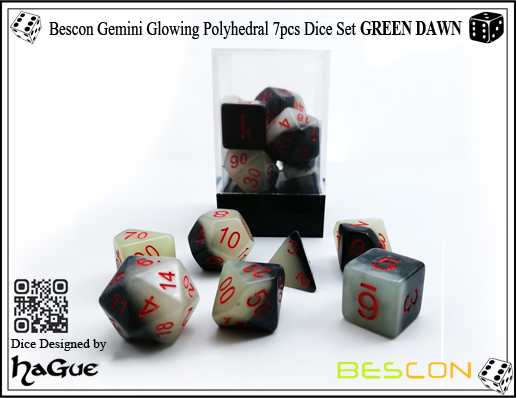 Bescon Gemini Glowing Polyhedral 7pcs Dice Set GREEN DAWN-3