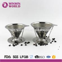 Acier inoxydable sans papier Verser sur la cafetière, le cône de filtre et le support, le micro-filtre à café et la cafetière