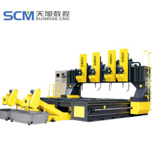 4 * 3 m Meja Kerja CNC Gantry Plate Drill Machine
