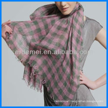 100% linen plaid pattern scarf fabric