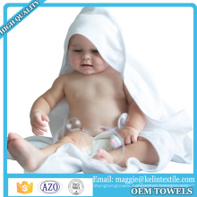 Custom design organic bamboo baby hooded towel, hooded baby babth towel white