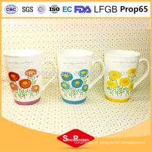 425ml Daisy Printing New Bone China Mug avec couvercle en silicone pour BS131121A