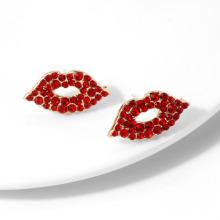 Hot Selling Sexy Kiss Lip Shape Stud Earring Diamond Fashion Shiny Red Mouth Earring