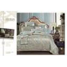 Bordado luxo jacquard edredom conjunto com edredão e travesseiro 7pcs