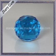 Boule en verre grande taille Aqua Facettes décoration bleu