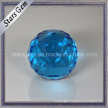 Big Size Aqua Blue Facets Decoration Glass Ball