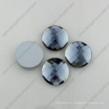 Dz-1031 Accessoires de vêtement en verre à dos plat rond