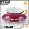 Luxury red tea cup and saucer wholesale with gold hand