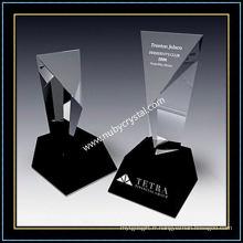 Trophée trophée Excel en cristal de 9 pouces de hauteur avec base en cristal noir (NU-CW770)