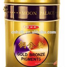 Goldbronzepulver Verwendung im Buchdruck, Tiefdruck, Bilderrahmen, Kunststofffilmdruck und Streichfarbe.