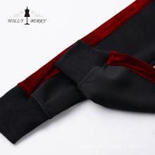 Stylish Elastic Waist Black Red Women's Joggers Yoga Leggings