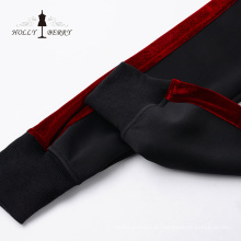 Стильные эластичные талии черные красные женские бега йоги леггинсы