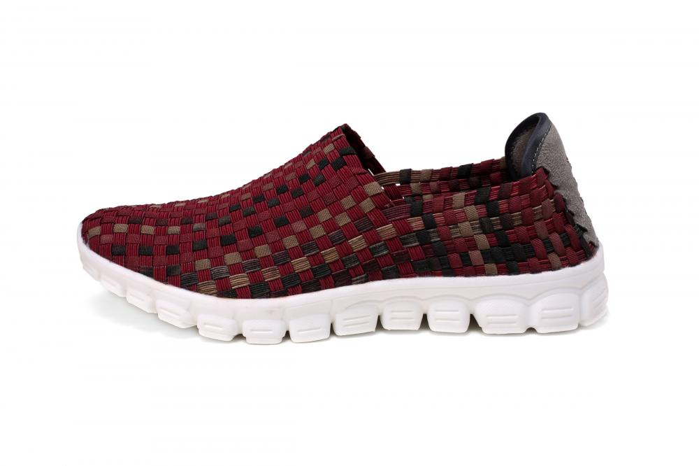 Wine Red Woven Loafers